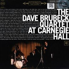 The Dave Brubeck Quartet At Carnegie Hall 2LP 180 Gram Vinyl Columbia Speakers Corner Pallas Germany - Vinyl Gourmet