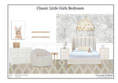 E-Design Board for a little girls bedroom Inspiration Boards, E Design, Girls Bedroom, Mood Boards, Little Girls, New Homes, Classic, House, Furniture