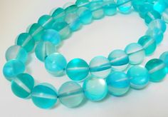 Moonstone Round Beads  Clear Blue Turquoise  Glass by BijiBijoux
