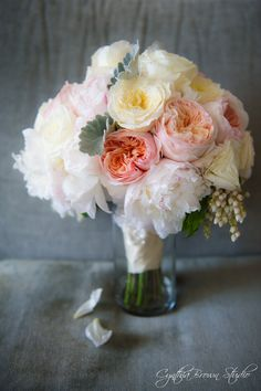 blush pink ranunculus, white peonies, lambs ear, lillies of the valley- Bridal Bouquet