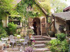 Interesting place to visit Studio Ghibli, Fantasy House, Dream Garden, Architecture, Porches, Exterior Design, Facade, Outdoor Living, Beautiful Places