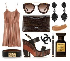 """""""Chanel croco bag, Jimmy Choo wedges, Halston Heritage dress, Prada sunglasses, Givenchy bracelet, Givenchy earrings, Chanel brooch, Tom Ford fragrance, YSL eyeliner and foundation."""" by anastassiablog ❤ liked on Polyvore featuring Prada, Halston Heritage, Jimmy Choo, Givenchy, Tom Ford, Yves Saint Laurent and Chanel"""