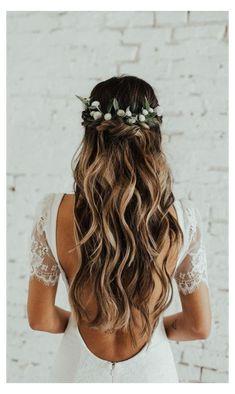 Wedding Braids, Wedding Hair Flowers, Wedding Hair And Makeup, Flowers In Hair, Boho Flowers, Gown Wedding, Boho Wedding Hair Half Up, Bridal Hair Down, Boho Bridal Hair