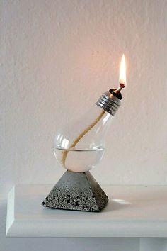 DIY home decor: Handmade Home Decor Light Bulb Oil Lamp on Pyramid natural concrete and Black Rock Base, Aluminum top bulb Handmade Home Decor, Diy Home Decor, Lampe Decoration, Old Lights, Home Decor Lights, Diy Décoration, Oil Lamps, Lamp Design, Light Bulb