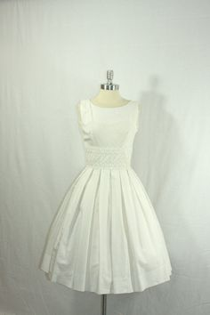 1950's Vintage Wedding Dress  Wonderful White Cotton Blend  by VintageFrocksOfFancy