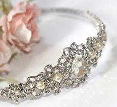 Bridal side tiara Rhinestone and pearl by LavenderBlueBridal, £95.00