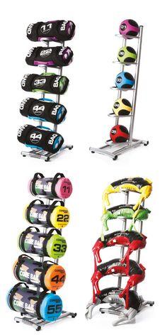 "Escape - 5 Unit Corebag / Sandbag / Medicine Ball Rack - Multi Bag Rack – Holds 5 Bags, Med Ball. SPECIFICATION: 24.4"" x 16"" x 57""."