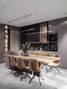 Luxury Kitchen Design, Kitchen Room Design, Home Room Design, Kitchen Layout, Home Decor Kitchen, Modern Interior Design, Interior Design Living Room, Diy Kitchen, Kitchen Ideas