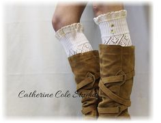 Leg warmers lace pointelle leg warmers women legwarmers knit leg warmers for all boots LUXURY LACE Dreamy Cream Catherine Cole Studio LW29 on Etsy, $29.00