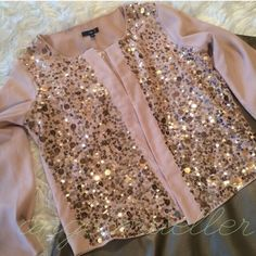 "Blush sequin special occasion jacket. Gap sequin jacket. Small, medium, and large sequin speckle the front of this jacket, starting sparse at the top and continues until it is thick at the bottom. Open style, no closure. Length: 22"", bust: 20"", sleeve length: 20.5"". No stretch. Brand new with tags. GAP Jackets & Coats Blazers"