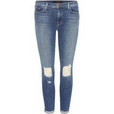 Rihanna wearing J Brand Blue Mid-Rise Capri 835 Jeans in Breathless