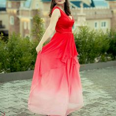 Red Ombre long prom dress