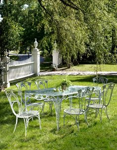 Remodel Suggestion Wrought Iron Table And Chairs Country Living Magazine Wrought Iron Outdoor Furniture Vintage Iron Patio Furniture Wrought Iron Outdoor Furniture, Vintage Outdoor Furniture, Iron Patio Furniture, Pallet Garden Furniture, Wrought Iron Patio Chairs, Furniture Ideas, Rattan Furniture, Rustic Furniture, Modern Design