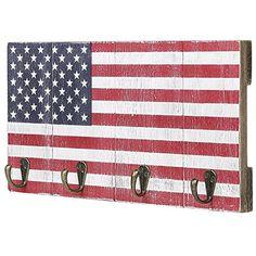 4-Hook American Flag Design Wood Wall Mounted Key Hook Rack #Hook #American #Flag #Design #Wood #Wall #Mounted #Rack