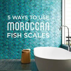 5 Ways to Use Moroccan Fish Scales - From earthy to gradient color palettes to bold and colorful, here is a round up of some of our favorite ways to use this Moroccan Fish Scale tile! #mercurymosaics