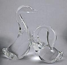 Steuben Crystal Art Glass Goose and Gander Pair Figurines Signed