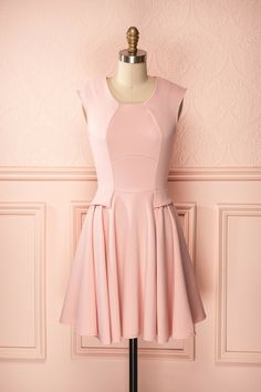 Jaselyn Blush - Light pink long dress with short peplum