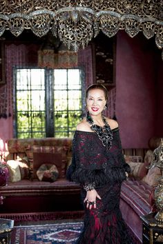 ANOTHER GREAT SUE WONG PORTRAIT BY AMAZING PHOTOGRAPHER Vincent Gotti --- ORIGINALLY SHOT FOR GEV MAGAZINE FEATURE. SUE WONG IS STANDING IN FRONT OF THE EXOTIC AND PLUSH SITTING ALCOVE OF THE JIMI HENDRIX MOROCCAN SUITE OF HER HOLLYWOOD BABYLON MANSION, THE CEDARS