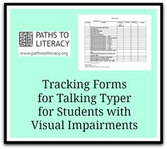 These tracking forms are designed to monitor student progress when using the #APH Talking Typer program