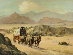 "Marshall Merritt: Western Artist, ""Death Valley Trek, CA 1980's, Oil Painting, #690"
