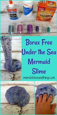 BORAX FREE Under the Sea Mermaid slime!!!!    http://momskitchenandthings.com/2017/06/17/borax-free-under-the-sea-mermaid-slime/