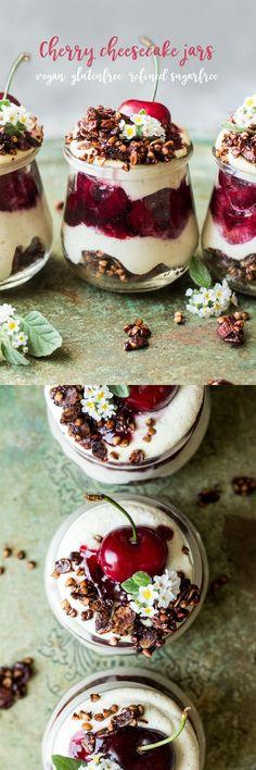 #cheesecake #cheesecakes #cheesecakejars #jars #cherries #cherry #vegan #dessert #glutenfree #dairyfree #refinedsugarfree #sugarfree #dessert #desserts #healthy