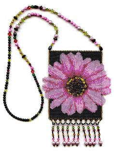 Pink Flower Peyote Beaded Amulet Bag Necklace