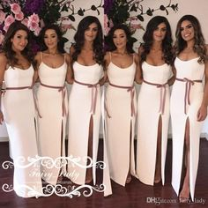 fe5a79c248 Sexy White Side Split Long Bridesmaid Dresses With Ribbon Sash 2018 Floor  Length Lace Up Back Maid Of Honor Dress Party Bridal Gowns Cheap Bridesmaids  ...