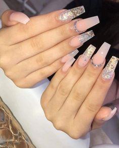 Pink Acrylic Nails, Acrylic Nail Designs, Gel Nails, Coffin Nails Glitter, Perfect Nails, Gorgeous Nails, Acryl Nails, Manicure E Pedicure, Fire Nails