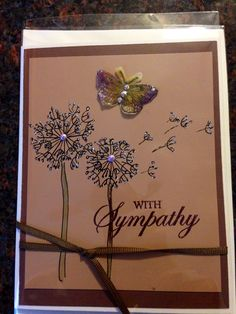 Handmade sympathy card/butterfly/flowers/original art work