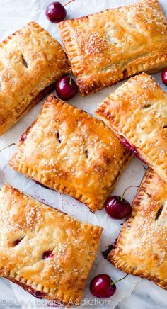 SIMPLE cherry hand pies! Fill with your favorite fillings like strawberry or blueberry.
