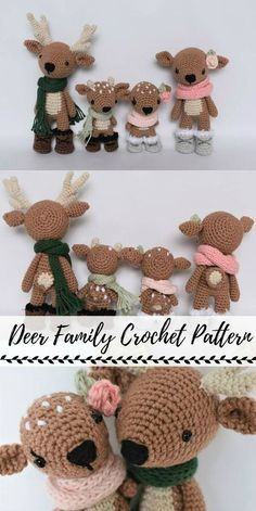 Crochet Patterns Sweet little deer family crochet amigurumi pattern bundle! Love these adorable l… Knitting Bordado : Crochet Patterns Sweet little deer family crochet amigurumi pattern bundle! Love these adorable l… bordado crochet Crochetpatterns Knit Crochet Gifts, Cute Crochet, Crochet Deer, Crochet Animals, Crochet Shawl, Crochet Baby, Crochet Patterns Amigurumi, Crochet Dolls, Christmas Crochet Patterns