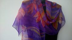 Hand Painted Purple Chiffon Silk Scarf for Ladies. by SilkLetters