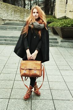 cape + bag + boots + scarf