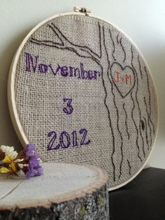 Burlap Embroidery Save the Date Tree Design
