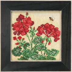 Mill Hill Geranium - Beaded Cross Stitch Kit. Kit Includes: Beads, ceramic button, perforated paper, floss, needles, chart and instructions. Finished size: 5 1/