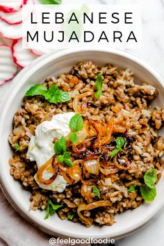 Lebanese Mujadara Mujadara is a traditional Middle Eastern recipe that's made with three ingredients: lentils, rice and onions. It's inexpensive to make, delicious & nutritious Veggie Dishes, Veggie Recipes, Indian Food Recipes, Whole Food Recipes, Cooking Recipes, Healthy Recipes, Arabic Recipes, Ethnic Recipes, Lebanese Food Recipes
