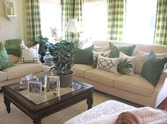 Green living room: throw pillows (from Williams-Sonoma Home), Buffalo plaid/check/gingham curtains - interior design by Alexandra Rae, alexandraraeinteriors.com