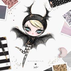 Halloween, please! Halloween Drawings, Halloween Cartoons, Halloween Doll, Batgirl Halloween, Girl Clipart, Mermaid Drawings, Gothic Dolls, Desenho Tattoo, Halloween