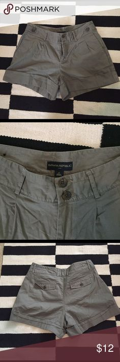 Banana Republic Shorts Classic cuffed shorts. Olive tone, but neutral. Pleats in front, double button closure. Like new condition. Banana Republic Shorts Skorts