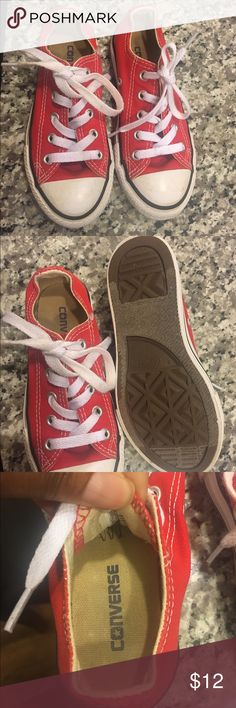 Red Converse Allstars Gently used red Converse. Size 11. Some scuffing on the top but they've been washed thoroughly. Converse Shoes Sneakers
