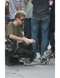 Puppy Love: Celebrities & Their Dogs, ELLEuk.com #agnesdeyn and her mini pooch #model in New York