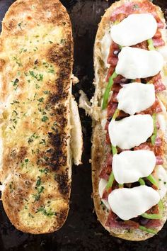 Easy loaded pizza sandwiches with all the classic toppings. Takes less than 15 minutes to make a giant toasted sandwich for four!