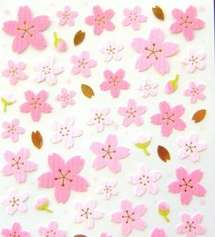 Would make a beautiful washi paper for origami ... Beautiful Japanese Chiyogami Stickers Sakura Cherry Blossoms And Petals  S12
