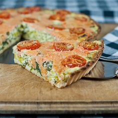 Smoked Salmon and Caper Tart:  A fabulous grain-free tart filled with smoked salmon, capers and heaps of vegetables.