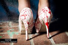 Victim Hand Painted Blood Spatter High Heel - As seen on The TODAY Show Zombie Vampire Halloween Costume. $45.00, via Etsy.