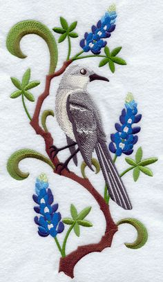 Texas Mockingbird And Bluebonnet Medley By EmbroideredbySue 1999