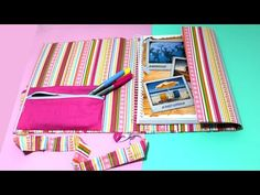 CAPA DE CADERNO com Alça tipo FICHÁRIO - DIY - Material Escolar 2017- Segredos de Aline - YouTube Diy Cape, Desk Organization Diy, Diy Back To School, Lettering Tutorial, School Supplies, Diy Crafts, Scrapbook, Sewing, Outdoor Blanket
