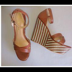 "Pour La Victoire Bonita Wedges Like new. Beautiful reddish brown and turquoise. 5"" heels with 2"" platforms. Super comfortable!!! Retails for $290+ Pour la Victoire Shoes Platforms"