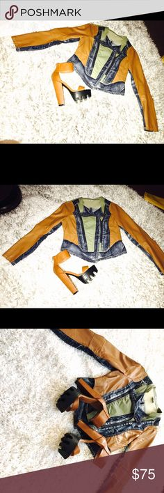 """Bundle deal Wow these amazing pieces are a fashion statement waiting to happen we have are multi denim and FAUX leather jacket size (M) runs true to size paired with our chestnut platform heels 👠 size (7) also runs true to size turn heads in this for sure """"styledbydrick"""" @fram3d_la Other"""